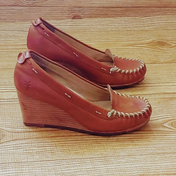 Frye Shoes - moccasin Style tan leather wedges
